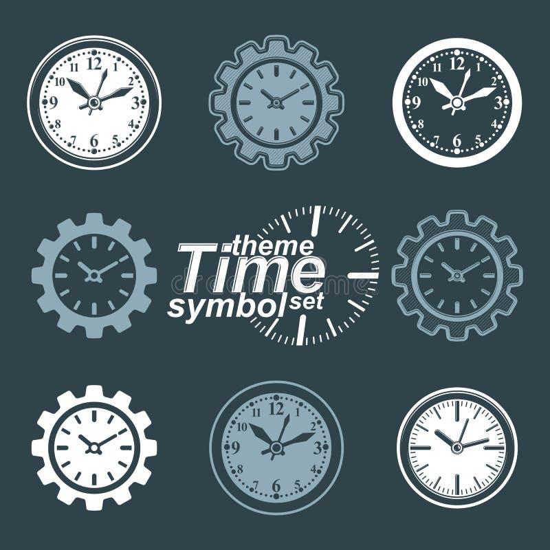 套传染媒介工程学组分,嵌齿轮转动 时间 向量例证