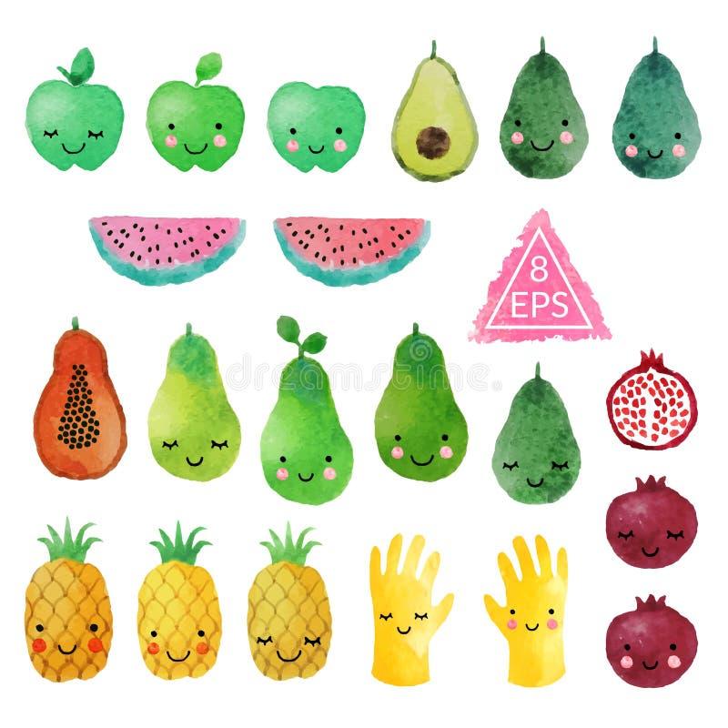 套传染媒介水彩果子 向量例证