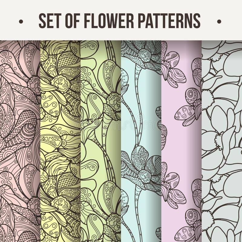 套传染媒介无缝的花卉Zentangle样式 向量例证