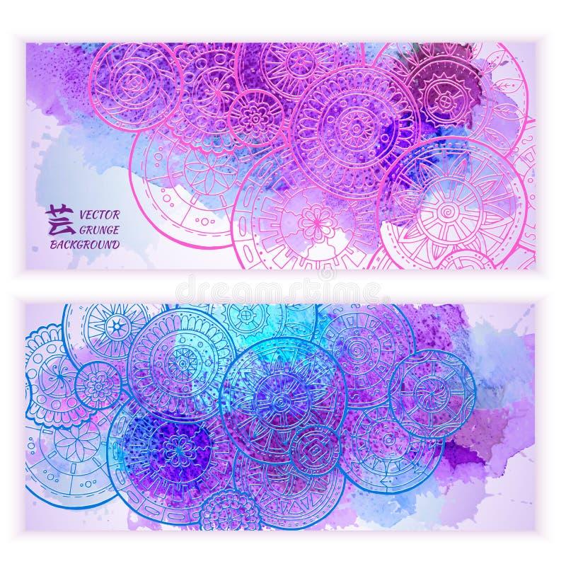 套传染媒介模板横幅有水彩油漆摘要背景和乱画手拉的坛场 皇族释放例证