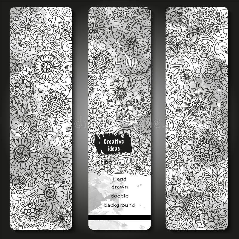 套传染媒介模板横幅有水彩油漆摘要背景和乱画手拉的花 黑色模式白色 向量例证