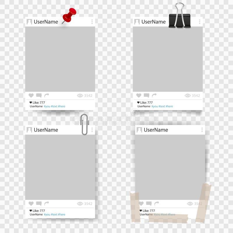 套传染媒介模板照片框架 向量例证