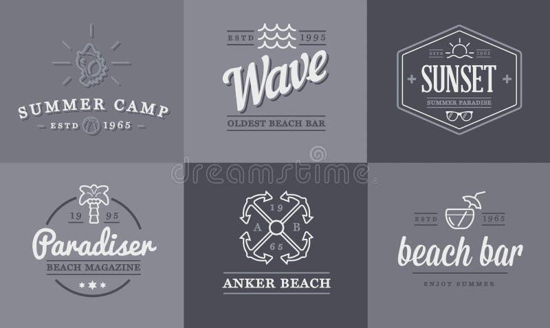 套传染媒介海滩海酒吧元素和夏天可以使用作为商标 向量例证