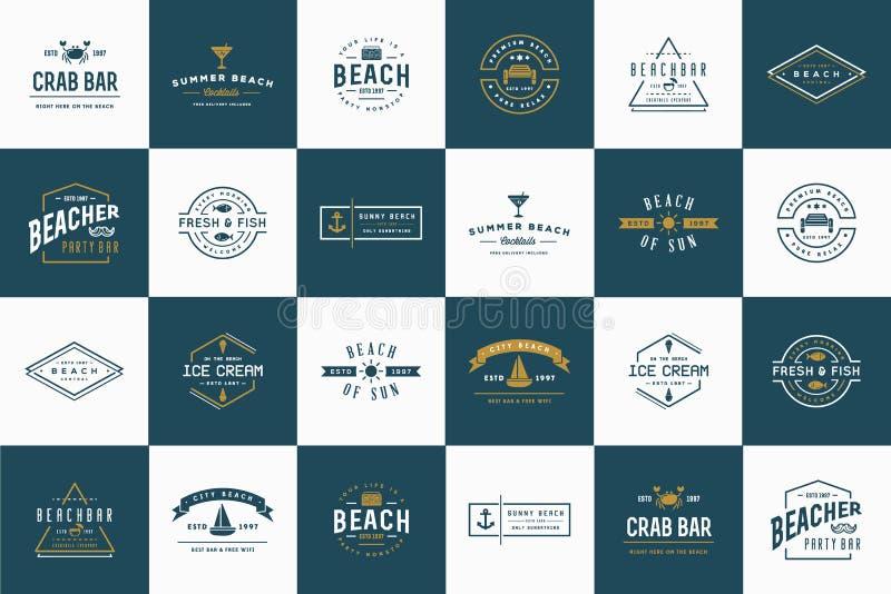 套传染媒介海滩海酒吧元素 库存例证