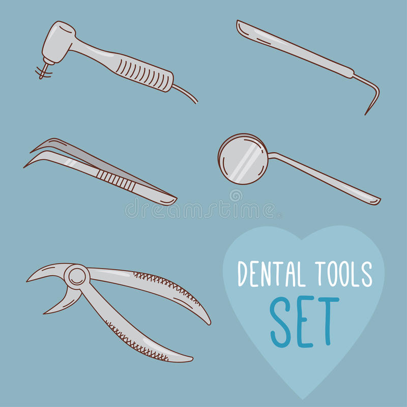 套传染媒介牙齿工具 动画片样式 皇族释放例证