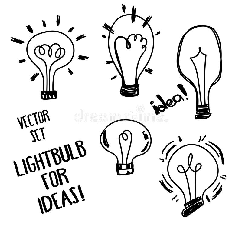 套传染媒介电灯泡 向量例证