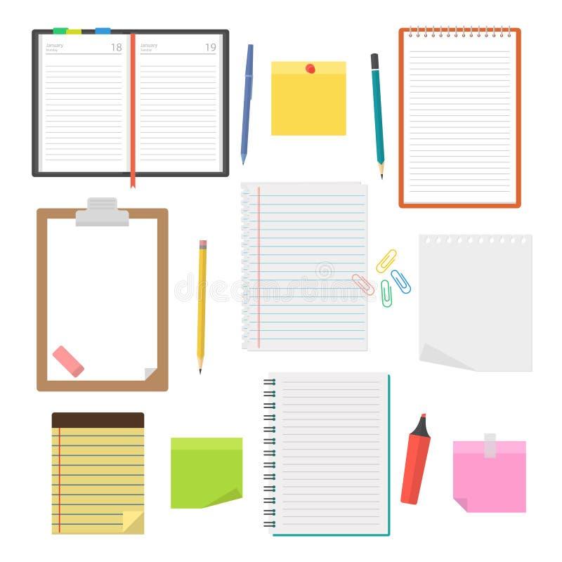 套传染媒介笔记本、日志和纸片 皇族释放例证