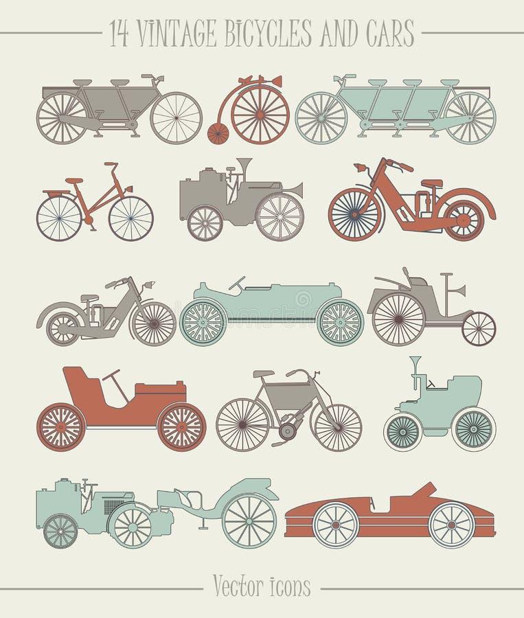 套传染媒介葡萄酒汽车和自行车象 向量例证
