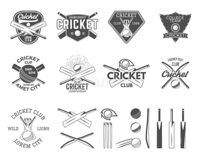 套传染媒介蟋蟀炫耀商标设计 蟋蟀象传染媒介集合 蟋蟀象征设计元素 体育发球区域 库存例证
