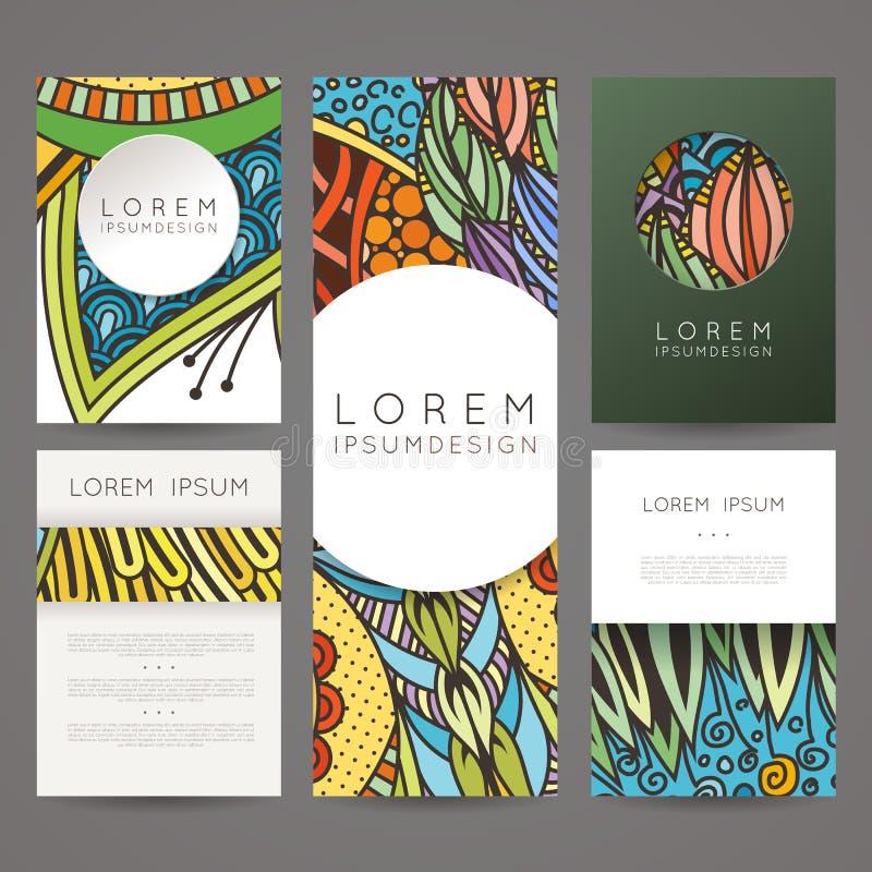 套传染媒介设计模板 在任意五颜六色的样式的小册子 葡萄酒框架和背景 向量例证
