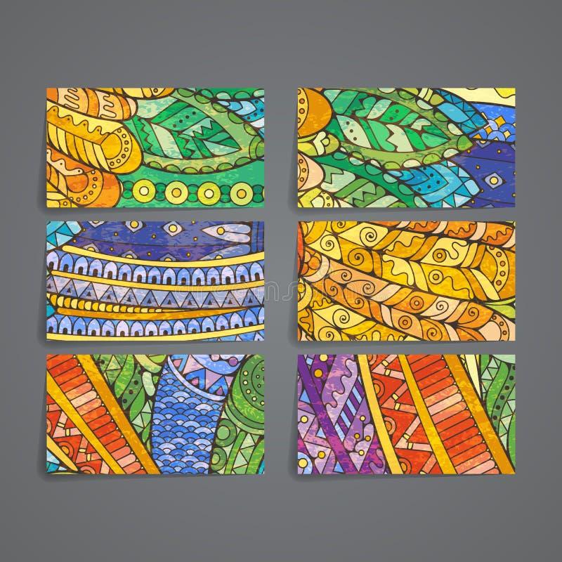 套传染媒介设计模板 在任意五颜六色的样式的小册子 Zentangle设计 皇族释放例证