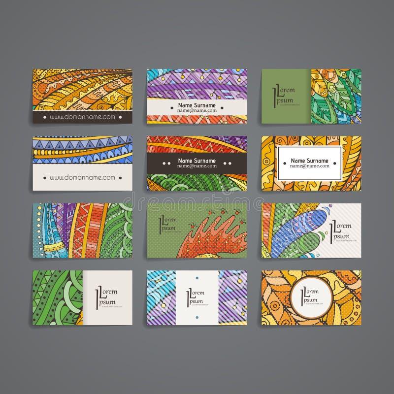 套传染媒介设计模板 在任意五颜六色的样式的小册子 Zentangle设计 库存例证