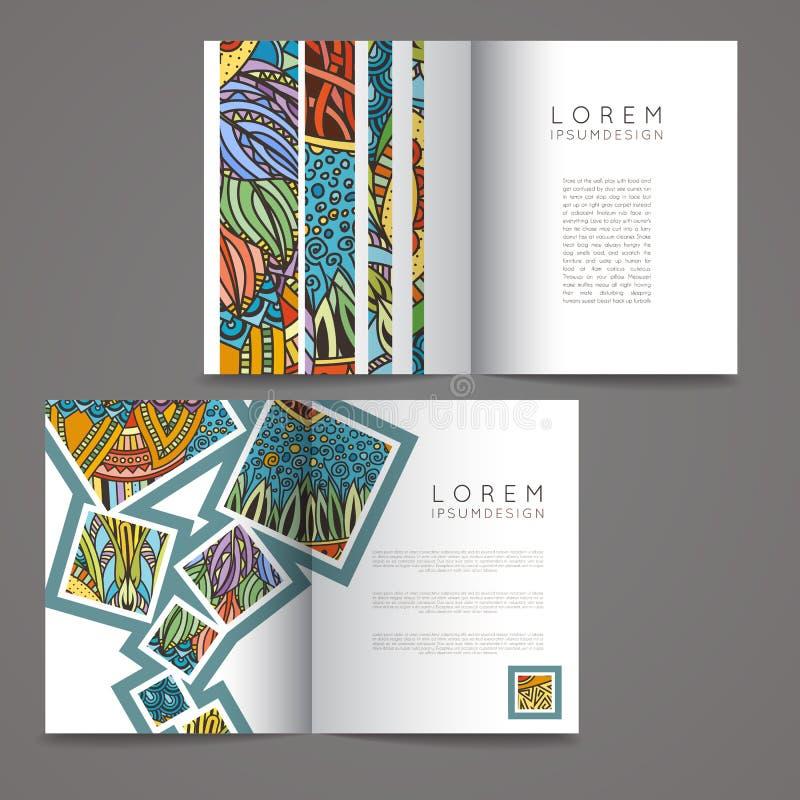 套传染媒介设计模板 在任意五颜六色的样式的杂志 背景查出葡萄酒白色 向量例证