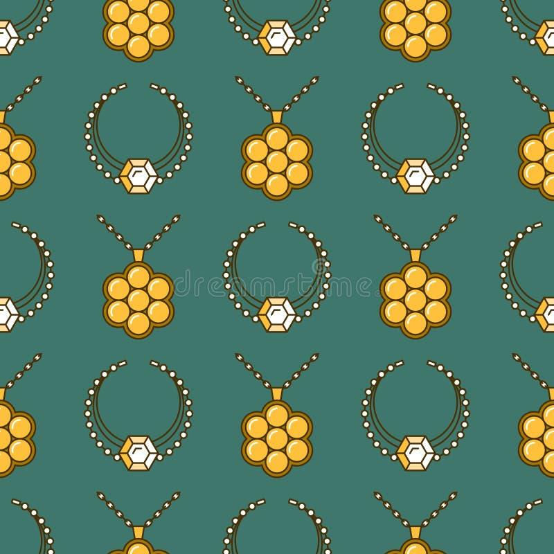 套传染媒介首饰线无缝的样式 金刚石豪华五颜六色的收藏 项链剪影 金宝石水晶 库存例证