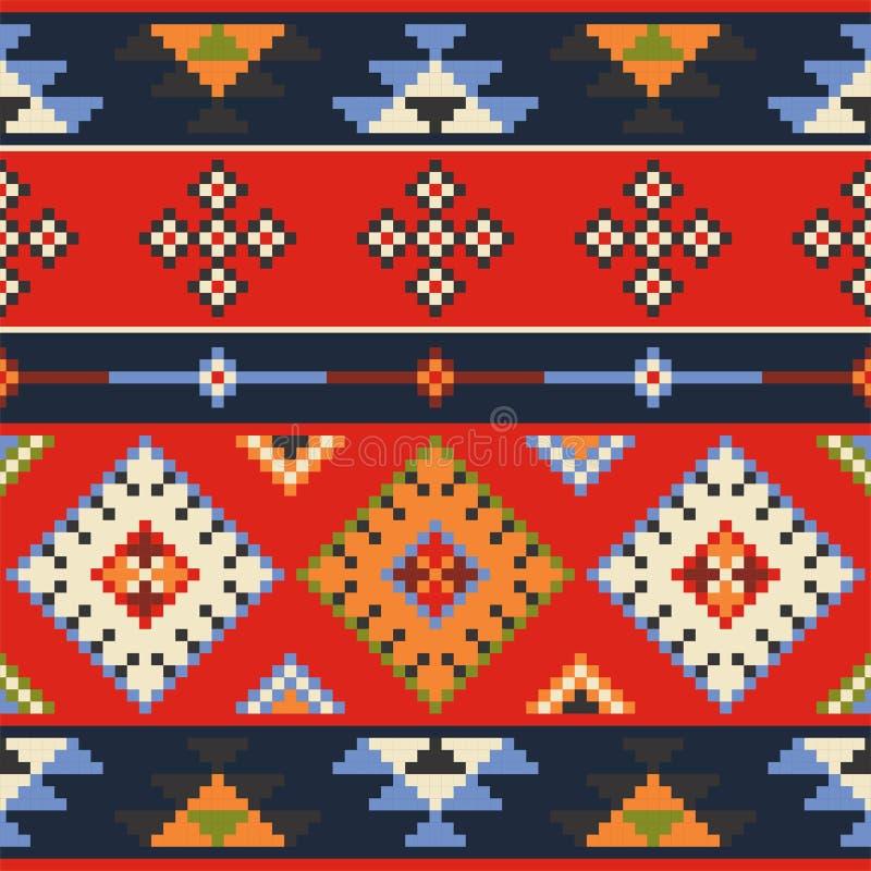套传染媒介estern欧洲民间无缝的样式装饰品 Eth 库存例证