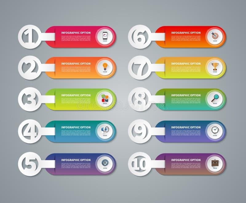 套传染媒介infographic被编号的横幅 向量例证