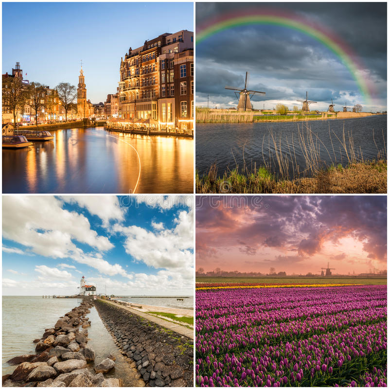 套传统荷兰风景 库存照片