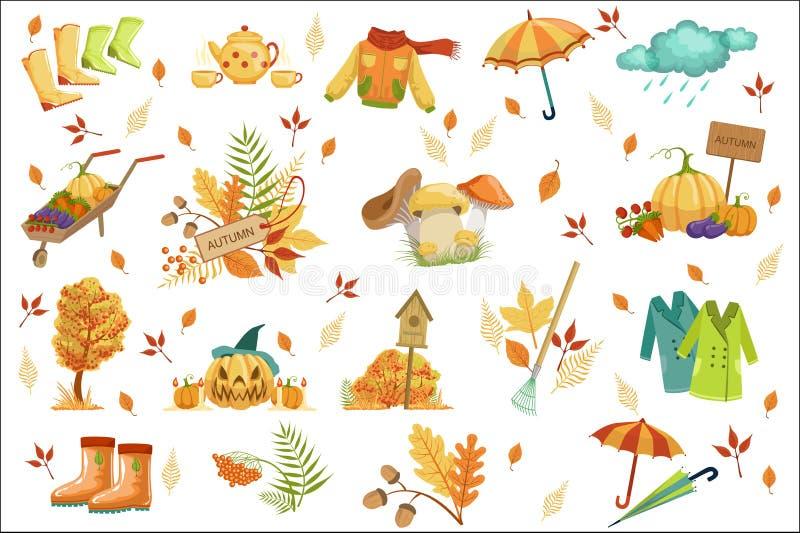 套伴生与秋天对象 在逗人喜爱的详细的动画片样式的季节性标志 皇族释放例证