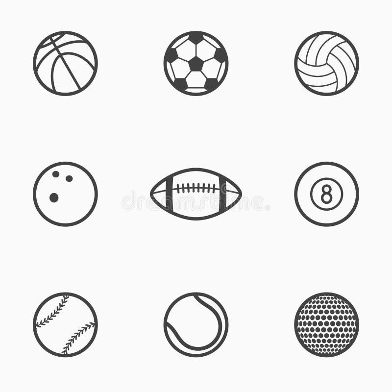 套体育球黑白照片象 也corel凹道例证向量 皇族释放例证