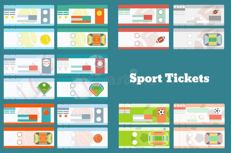 套体育票:棒球,篮球,足球,橄榄球,在2个变形的网球其中每一 向量例证