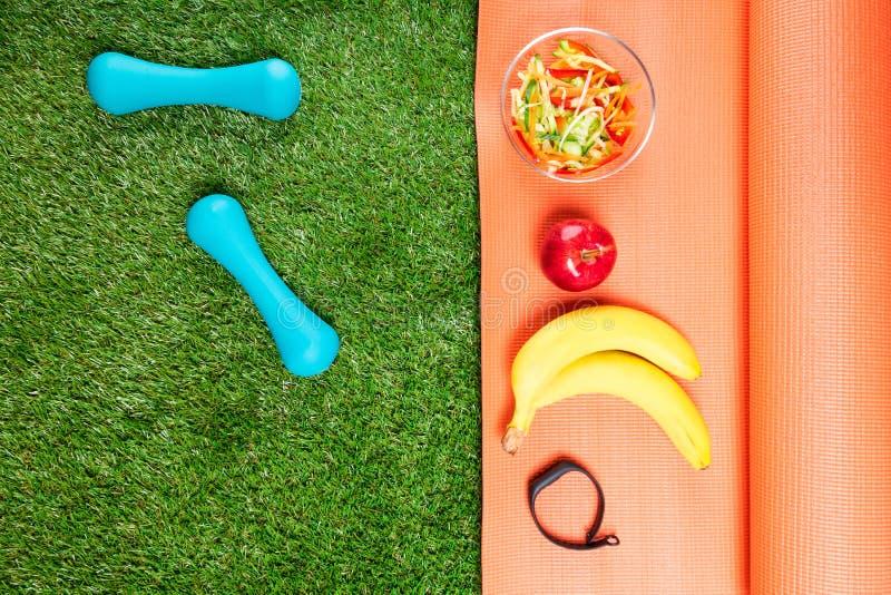 套体育营养和哑铃在绿色领域 库存照片