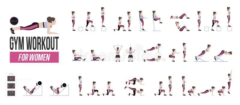 套体育锻炼 与自由重量的锻炼 在健身房的锻炼 一种活跃生活方式的例证 向量 向量例证