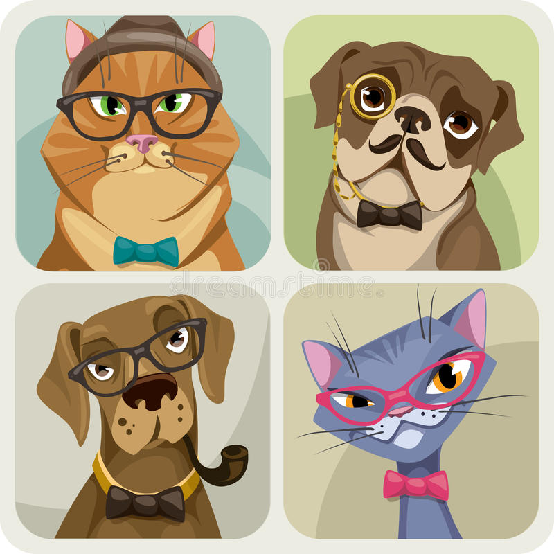 套佩带行家辅助部件的狗和猫四张画象  向量例证