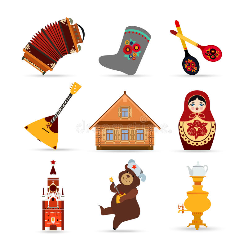 套俄罗斯旅行五颜六色的平的象 皇族释放例证