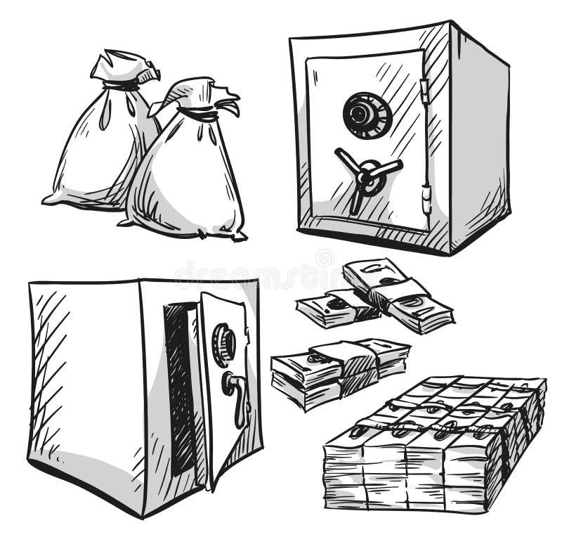 套保险柜图画 现金货币 库存例证