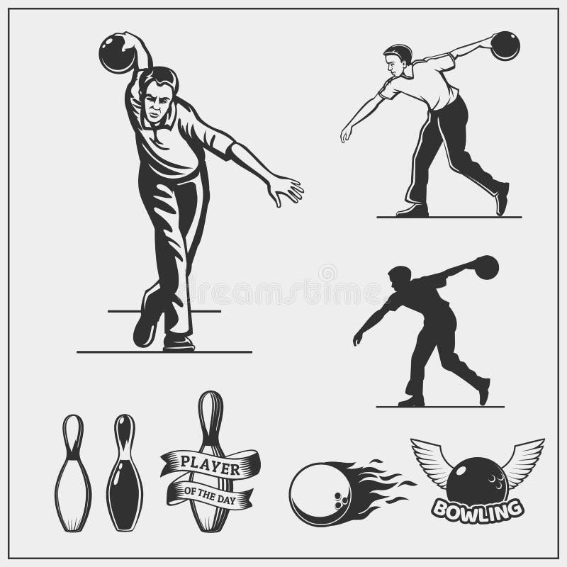 套保龄球象、象征、标签、徽章和设计元素 库存例证