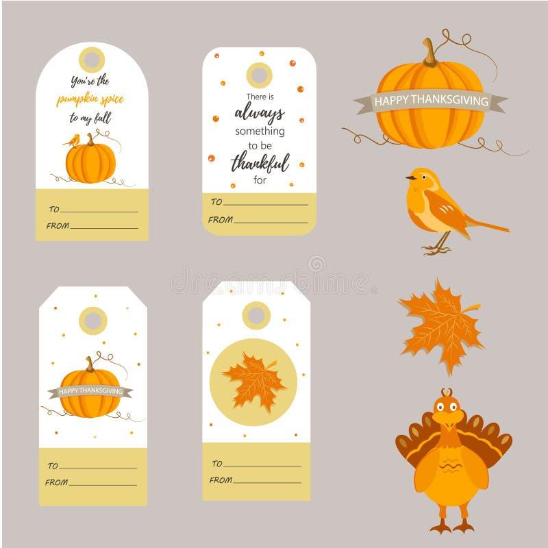 套假日感恩背景,徽章,用不同的元素的标记 库存例证