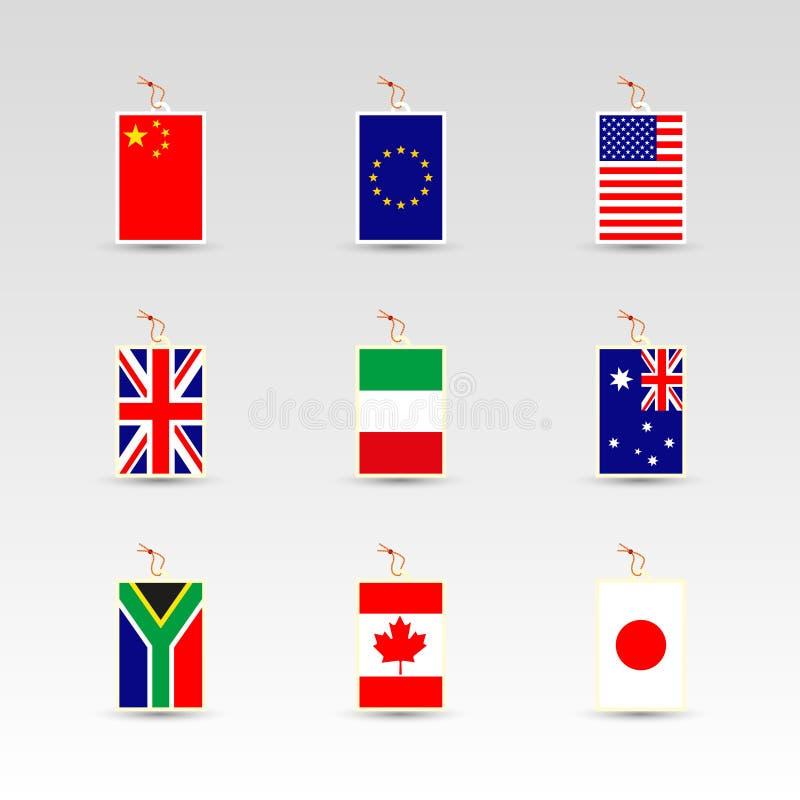 套做在瓷、EU、英国、美国、意大利、澳大利亚、南非、加拿大和日本的标签 皇族释放例证
