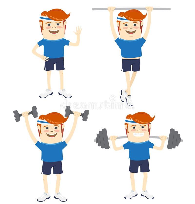 套做锻炼的行家滑稽的运动员 平的样式 皇族释放例证