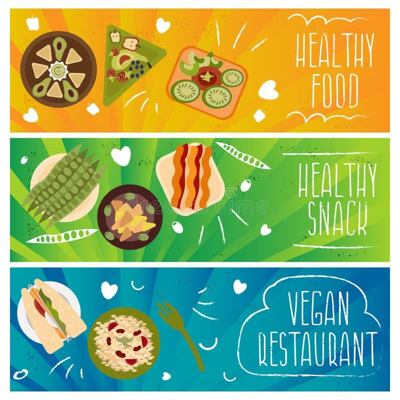 套健康的题材的横幅,素食主义者食物 向量我 皇族释放例证