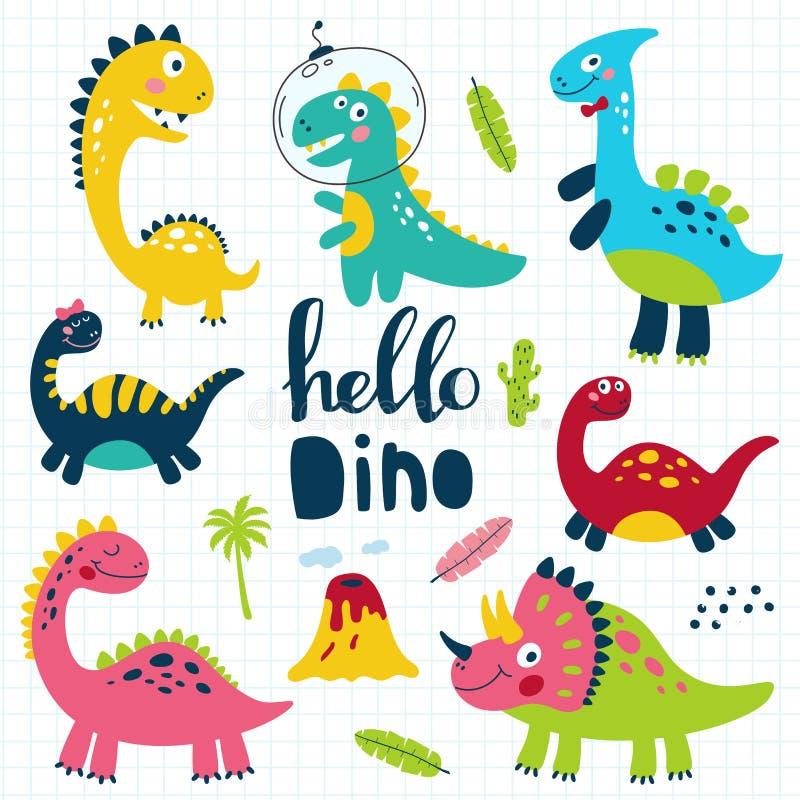 套儿童印刷品的逗人喜爱的恐龙 向量 库存例证