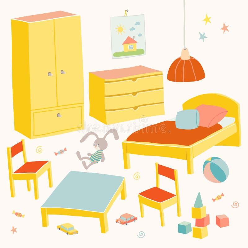 套儿童居室的家具 哄骗小家具 供住宿,与儿童` s椅子的桌,衣橱和胸口手 向量例证