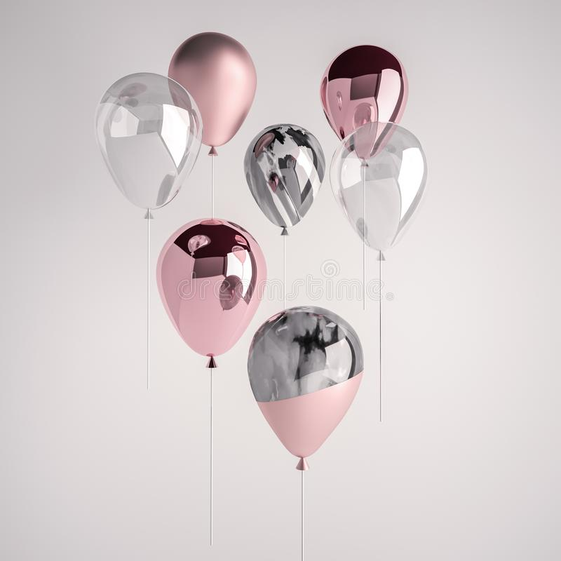套光滑和缎桃红色,在棍子的透明,黑白大理石3D现实气球党的,事件, presentati 向量例证