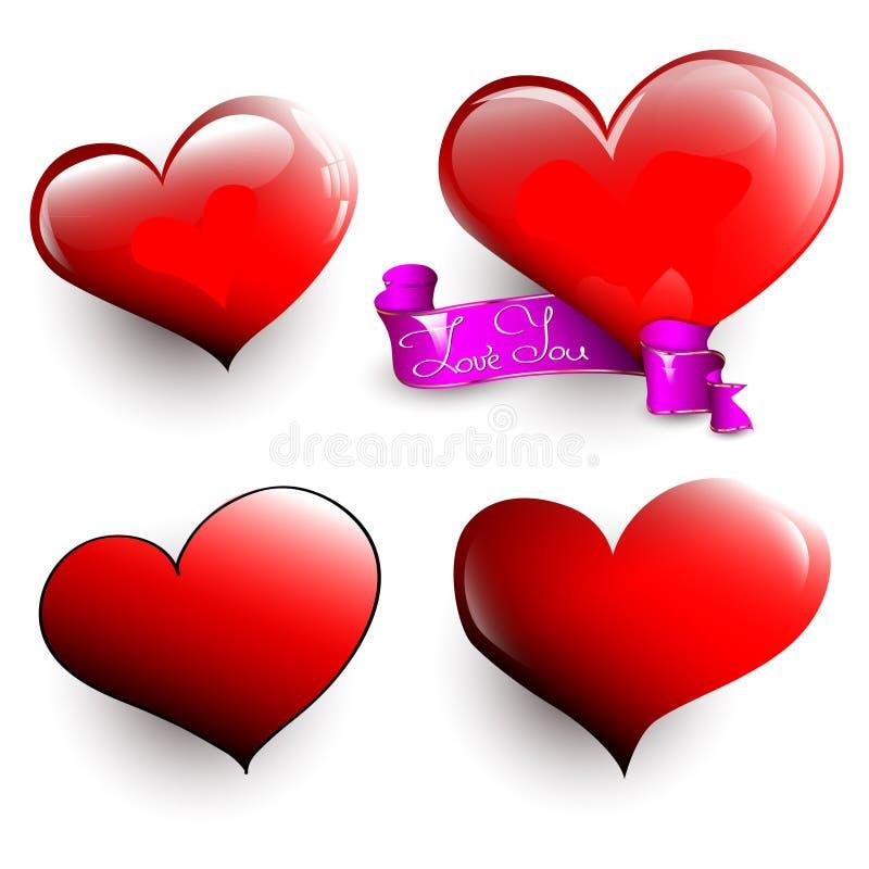 套光滑的心脏 库存例证