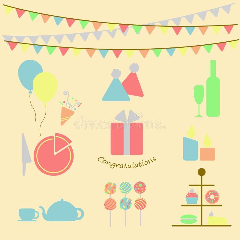 Download 套党元素 向量例证. 插画 包括有 五颜六色, 逗人喜爱, 要素, 设计, 曲奇饼, 糖果, 装饰, 背包 - 72351009