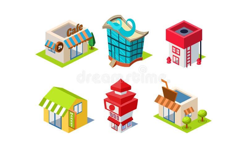 套公共建筑 咖啡馆,市场,消防队,咖啡馆 城市建设者元素 等量传染媒介象 向量例证