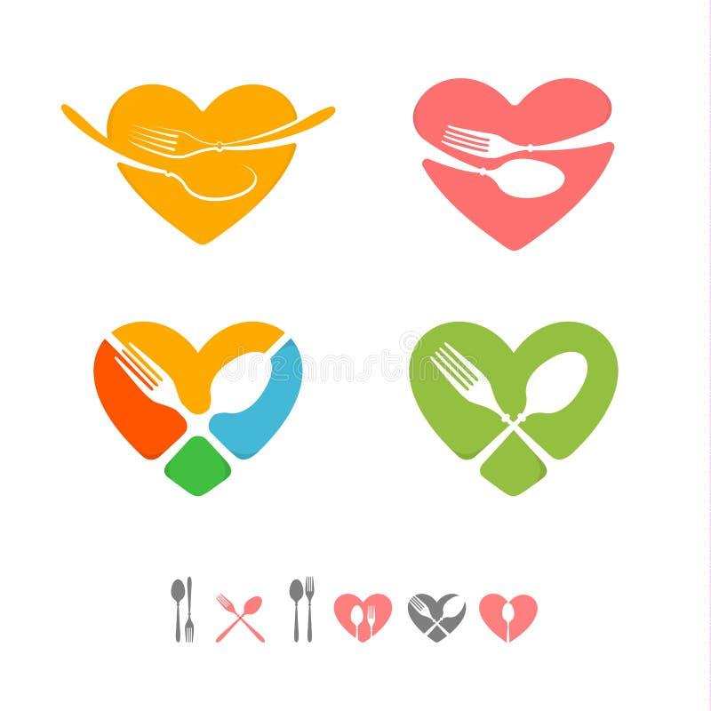 套公共饮食商业的传染媒介商标 餐馆象征 绿色,黄色,桃红色,蓝色,红色,灰色颜色 贺卡为 向量例证