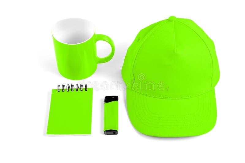 套公司本体设计的绿色元素在白色bac 免版税库存图片
