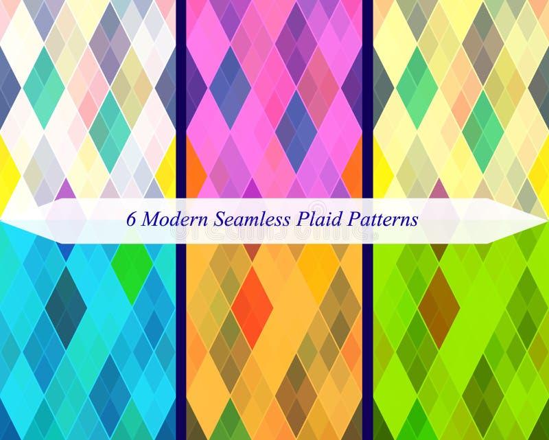 套六个无缝的现代格子花呢披肩样式 库存例证