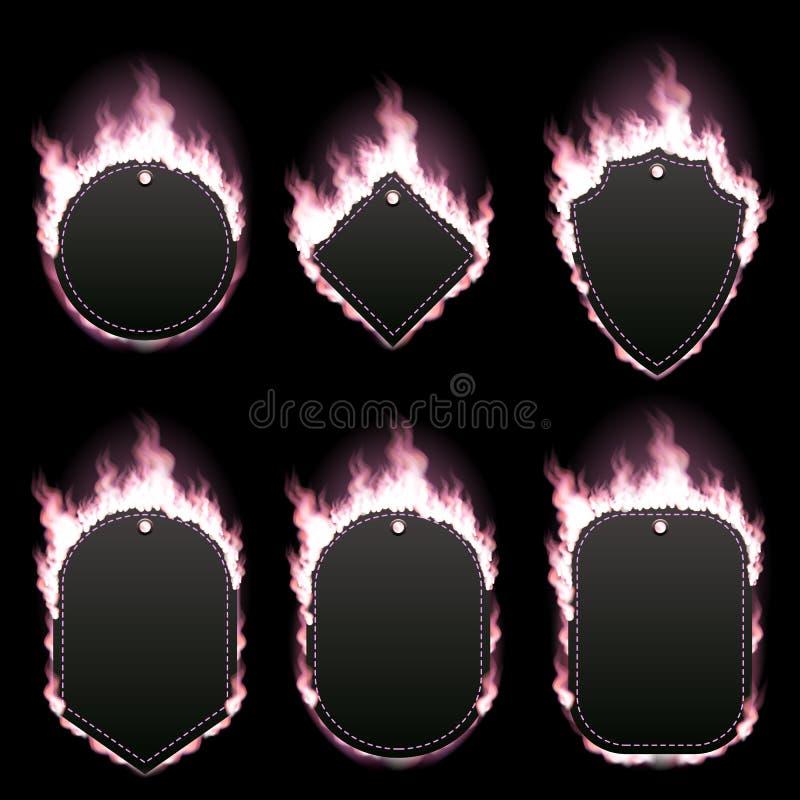 套六个框架围拢与桃红色火焰 向量例证