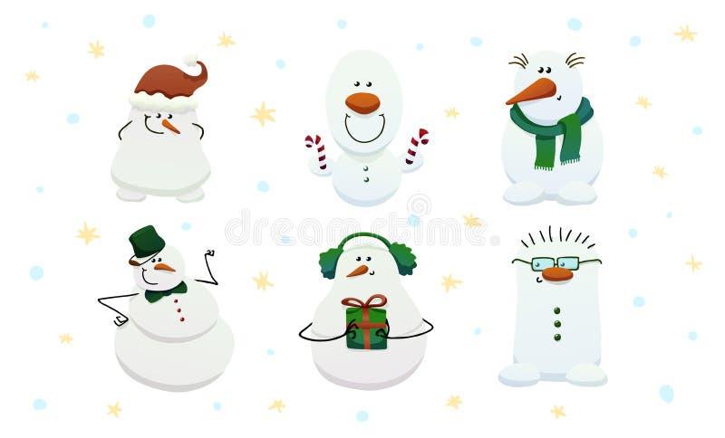 套六个逗人喜爱的雪人 向量例证