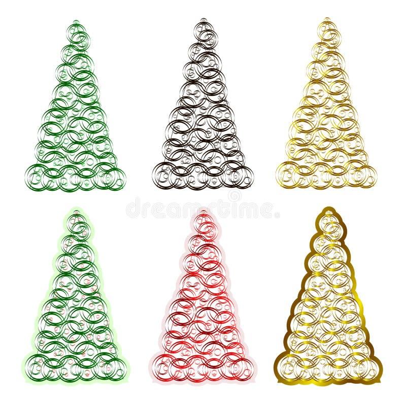 套六棵圣诞树 库存例证