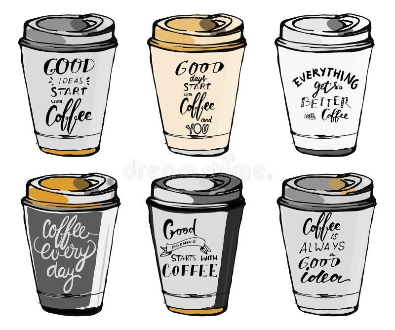 套关于咖啡的诱导行情 递您的设计的字法和风俗印刷术 库存照片