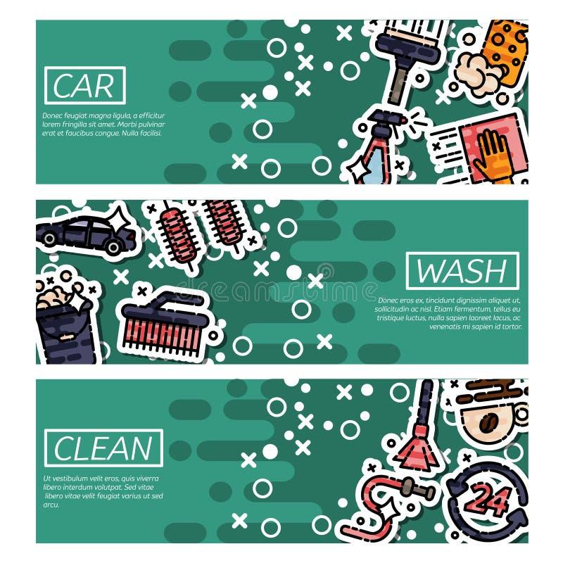 套关于洗车的水平的横幅 库存例证