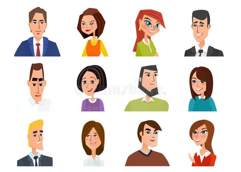 套具体化图标 企业动画片概念传染媒介 向量例证