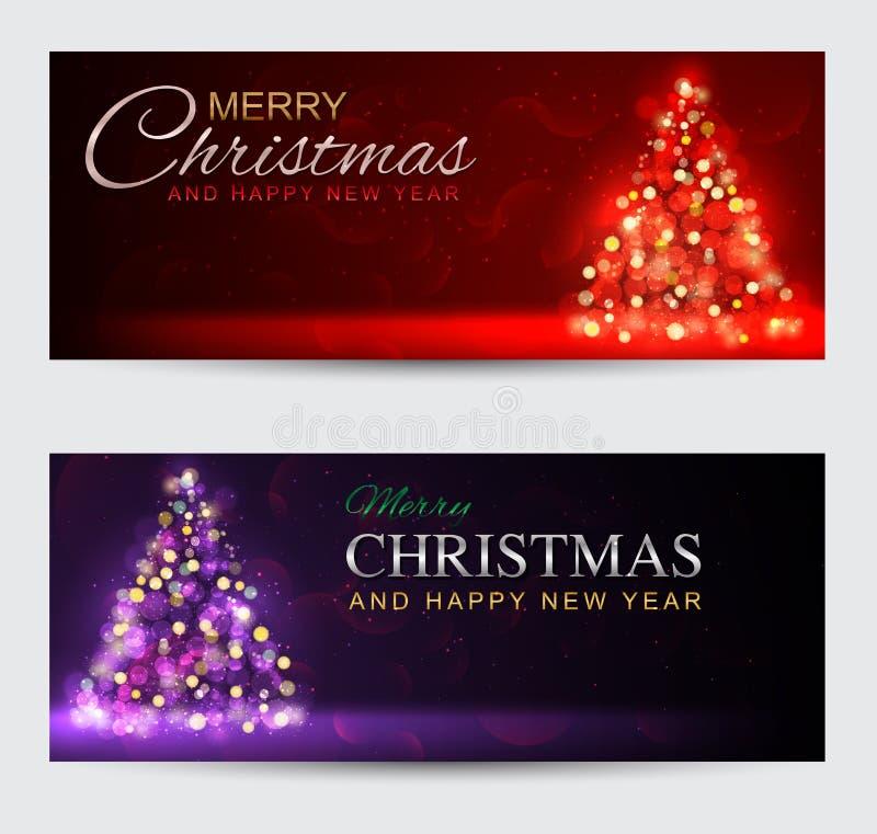 套典雅的横幅圣诞快乐和新年好 人兽交 库存例证